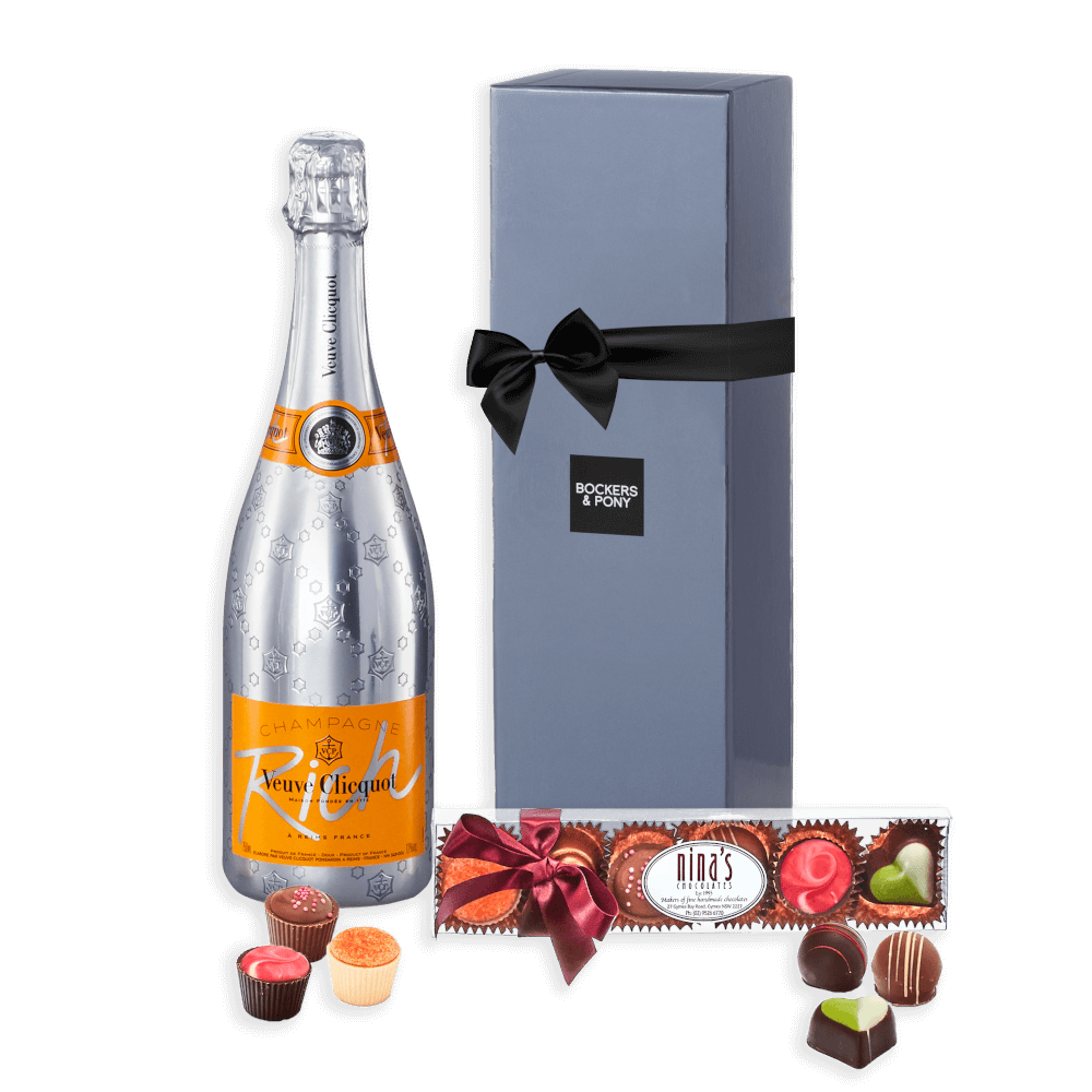 Veuve Clicquot Rich + Nina's Belgian Chocolates (small) gift hamper