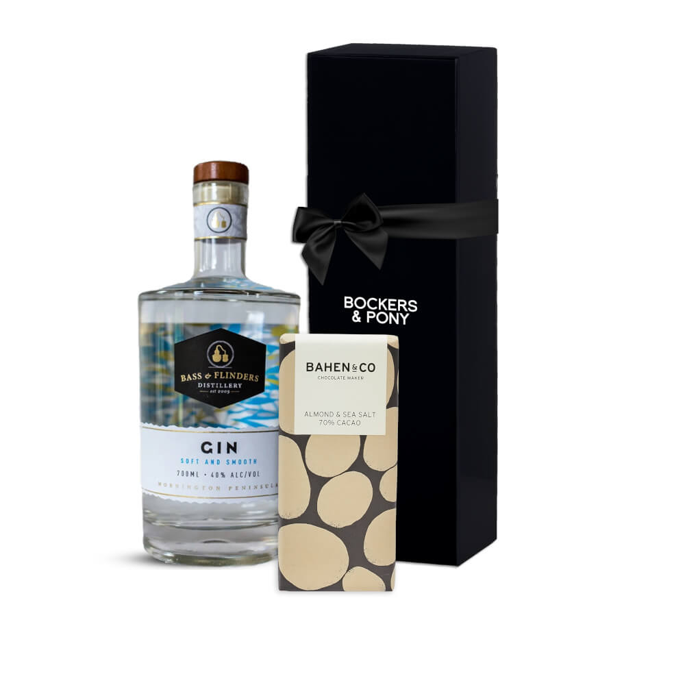 Bass & Flinders Soft and Smooth Gin + Bahen & Co Almond and Seasalt gift hamper